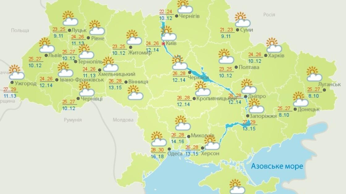 Прогноз погоди на 14 вересня