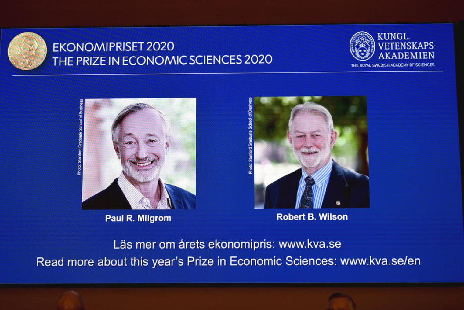Лауреаты Нобелевской премии по экономике Пол Р. Милгром и Роберт Б. Уилсон