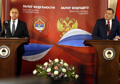 Сергей Лавров и Милорад Додик на совместной пресс-конференции в Сараево 14 декабря 2020 г.