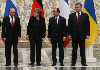 Володимир Путін, Ангела Меркель, Франсуа Олланд і Петро Порошенко під час мінських переговорів 11 лютого 2015 р.