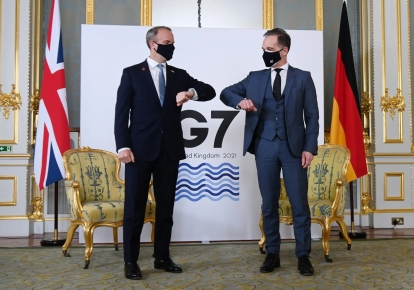 Доминик Рааб (слева) и Хайко Маас. Лондон, Великобритания, 5 мая 2021 г.