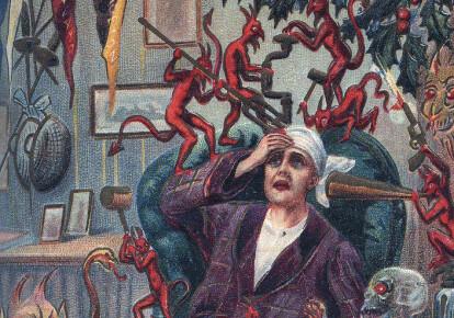 Черти новогоднего похмелья издеваются над джентльменом. Фрагмент старинной английской открытки