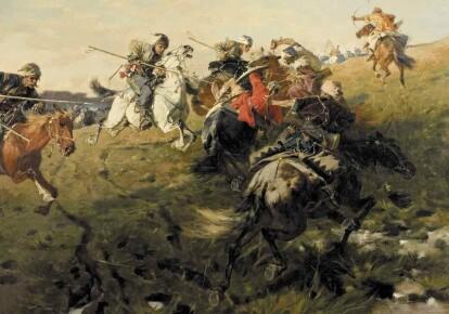 "Картина Юзефа Брандта ""Схватка казаков с татарами"""