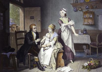 Едвард Дженнер вакцинує свого маленького сина. На задньому плані видно корову/Wikimedia