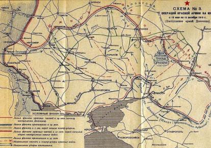 Схема лінії фронту Червоної армії в Україні у травні-жовтні 1919-го
