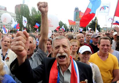 Проросійський мітинг в Донецьку, травень 2014 р.