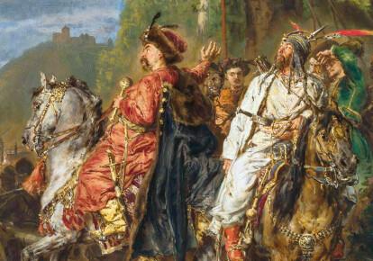 """Фрагмент картины Яна Матейко """"Хмельницкий и Тугай-бей под Львовом"""" (события 1648 г.)"""
