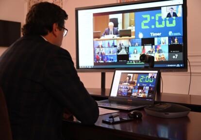 Дмитро Кулеба під час онлайн-засідання Ради міністрів ЄС