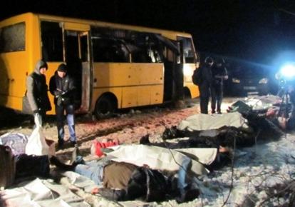 Обстріляний автобус під Волновахою