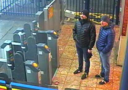 Олександр Петров і Руслан Боширов. Фото: EPA / запис відеокамер на залізничній станції Солсбері