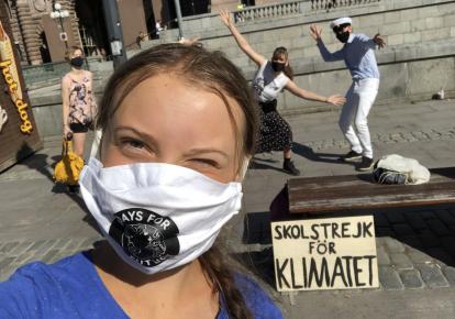 Грета Тунберг на протесте в Швеции