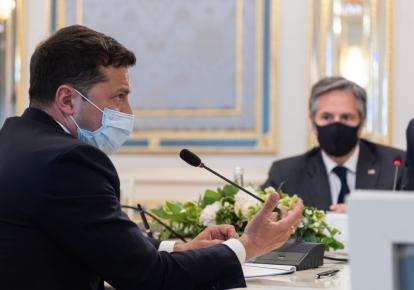 Президент Украины Владимир Зеленский и Государственный секретарь США Энтони Блинкен