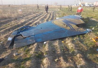 Место падения сбитого самолета МАУ в Иране