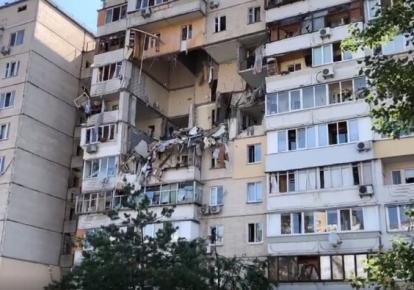 Дом на Позняках после взрыва газа