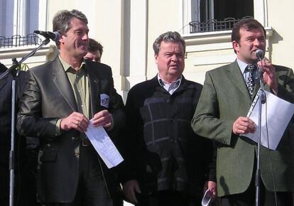Балога и Виктор Ющенко на митинге 16 апреля 2004 г. накануне выборов городского головы в Мукачево