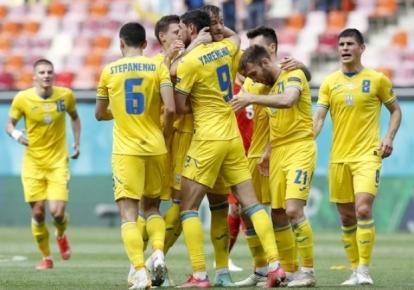 Сборная Украины празднует гол в ворота Северной Македонии