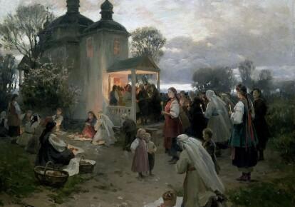 Картина Николая Пимоненко «Ранкова заутреня»  На анонсну