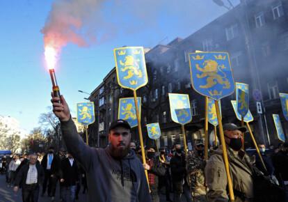 """Марш в честь создания дивизии """"Галичина"""" в Киеве 28 апреля 2021 г."""