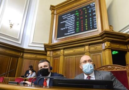 Премьер-министр Денис Шмыгаль во время голосования за проект бюджета 2021