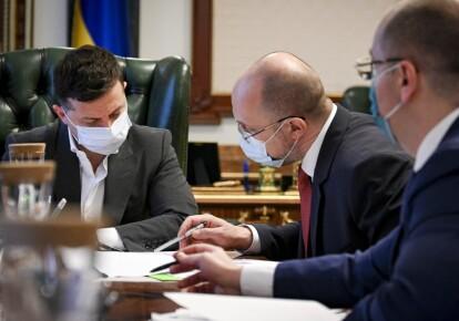 Володимир Зеленський, прем'єр-міністр Денис Шмигаль, голова МОЗ Максим Степанов