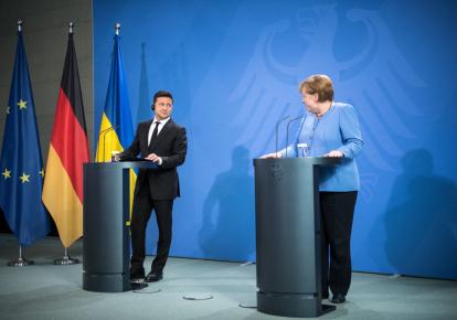 Володимир Зеленський і Ангела Меркель під час спілкування з журналістами в Берліні 12 липня 2021 року