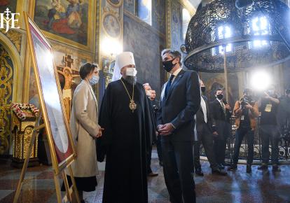 Госсекретарь США Энтони Блинкен и предстоятель ПЦУ митрополит Епифаний