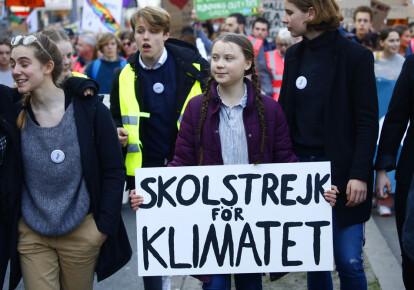 Грета Тунберг на марші в Брюсселі (Бельгія) 21 лютого 2019 р.