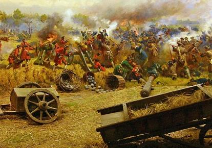"""Фрагмент діорами """"Полтавська битва"""" в музеї історії Полтавської битви"""