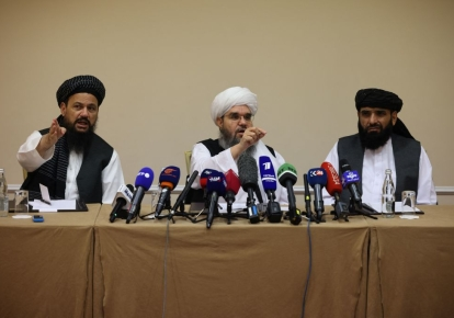Представители талибов Абдул Латиф Мансур, Шахабуддин Делавар и Сухайл Шахин на пресс-конференции в Москве 9 июля 2021 г.