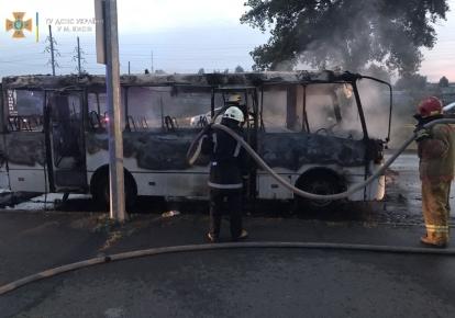 В Киеве загорелся пассажирский автобус