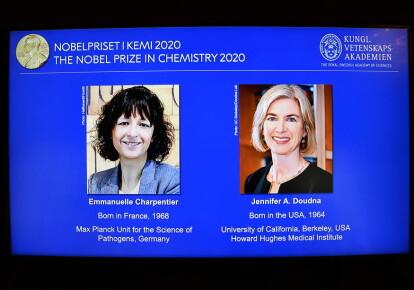 Нобелевские лауреаты Эммануэль Шарпантье (Франция) и Дженнифер Дудна (США)