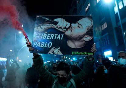 Протесты в поддержку арестованного Пабло Хаселя в Каталонии