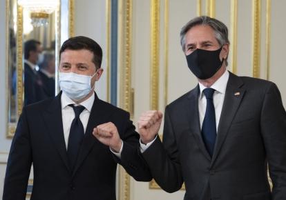 Президент Украины Владимир Зеленский и госсекретарь США Энтони Блинкен