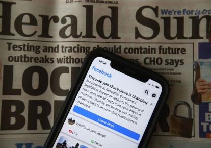 Facebook забороняє австралійцям публікувати новинні посилання у відповідь на запропонований закон, який змусить компанію платити за новини