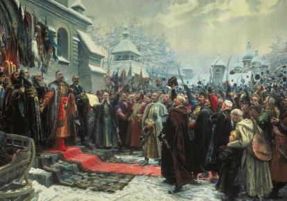 """Картина Михаила Хмелько """"Навеки с Москвой, навеки с русским народом"""", 1951 г."""