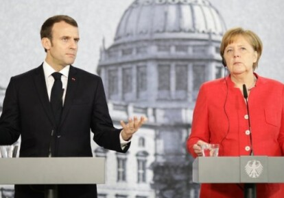 Еммануель Макрон і Ангела Меркель