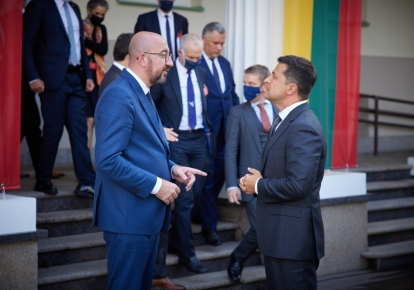 Президент Украины Владимир Зеленский и президент Европейского совета Шарль Мишель
