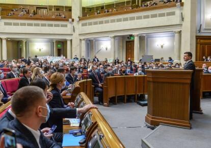 Володимир Зеленський під час засідання Верховної Ради