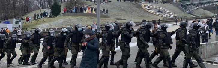 Протесты в Киеве: полиция помешала митингующим установить палатки на Майдане (ФОТО)