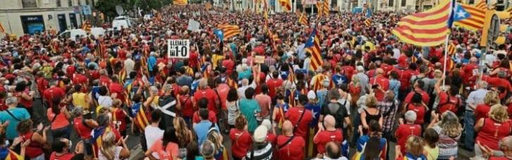 Сотни тысяч каталонцев вышли на марш за независимость в Барселоне (ФОТО)