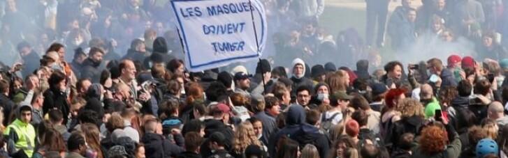 Вечеринки не получилось: В Брюсселе акцию против карантина разогнали водометами (ФОТО, ВИДЕО)