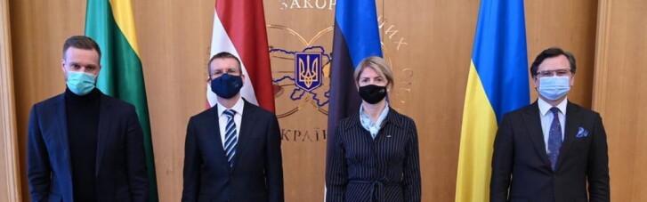 Кулеба встретил в Киеве глав МИД Латвии, Литвы и Эстонии