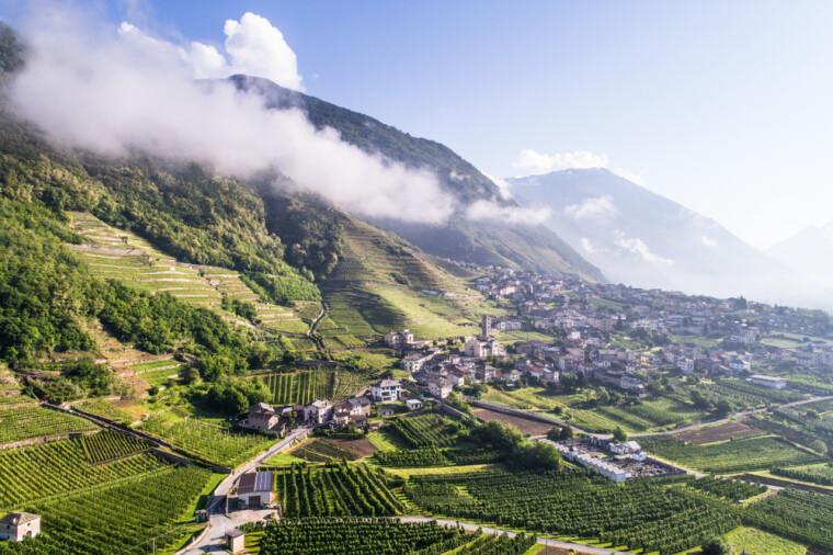 Долина Вальтеллина на границе Италии и Швейцарии. Туристы шутят, что ее незабываемая красота сравнима только со вкусом изобретенных там деликатесов