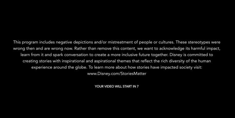 Такий дисклеймер передує деяким фільмам на Disney + Його неможна пропустити