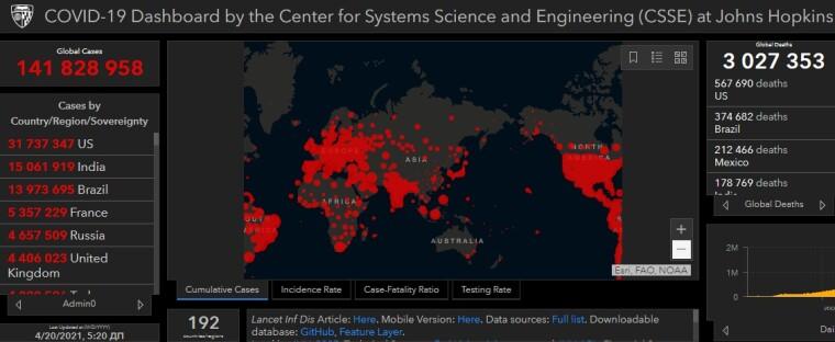 Коронавірус у світі, дані на 20 квітня