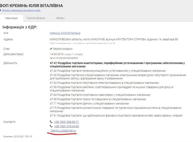 Скрин из реестра ФЛП Юлии Креминь