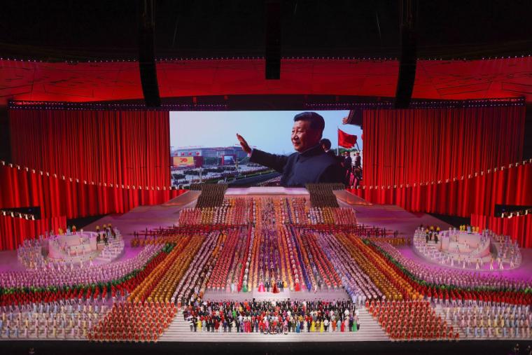 Си Цзиньпин во время празднования столетия Коммунистической партии Китая