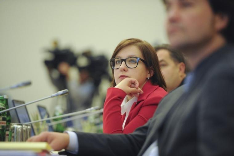 Заступник міністра освіти України Інна Совсун під час засідання Кабінету міністрів України, 2014 р.