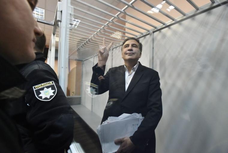 Михайло Саакашвілі перед початком слухань в суді Києва 11 грудня 2017 р