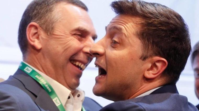 Сергей Шефир и Владимир Зеленский в день выборов Президента Украины, 2019